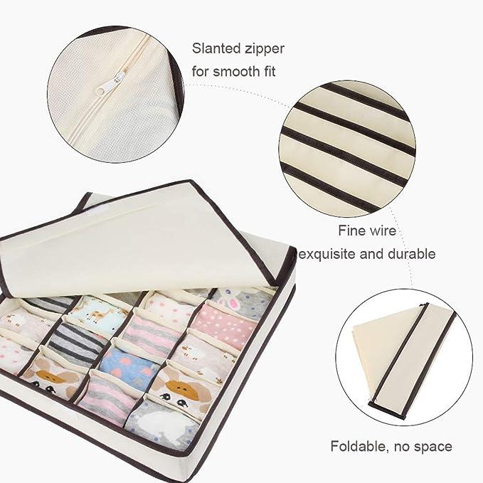 6 Grid Bra Box,Gray Biancheria Intima Calzini Cravatta Storage Box Vagone Bra Organizzatore Armadio Divisori CMTKJ Pieghevole Cassetto Organizzatore Divisore