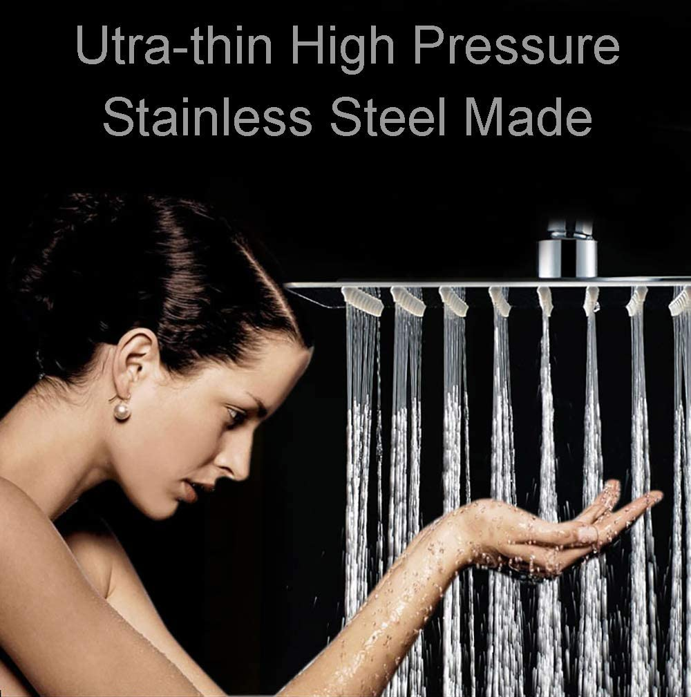Fixed shower head High Pressure Premium Stainless Steel shower head 12 – Adjustable Rain Shower Head with Removable Restrictor Self Cleaning High Flow Nozzles -Anti clog Anti-leak-Polished Chrome