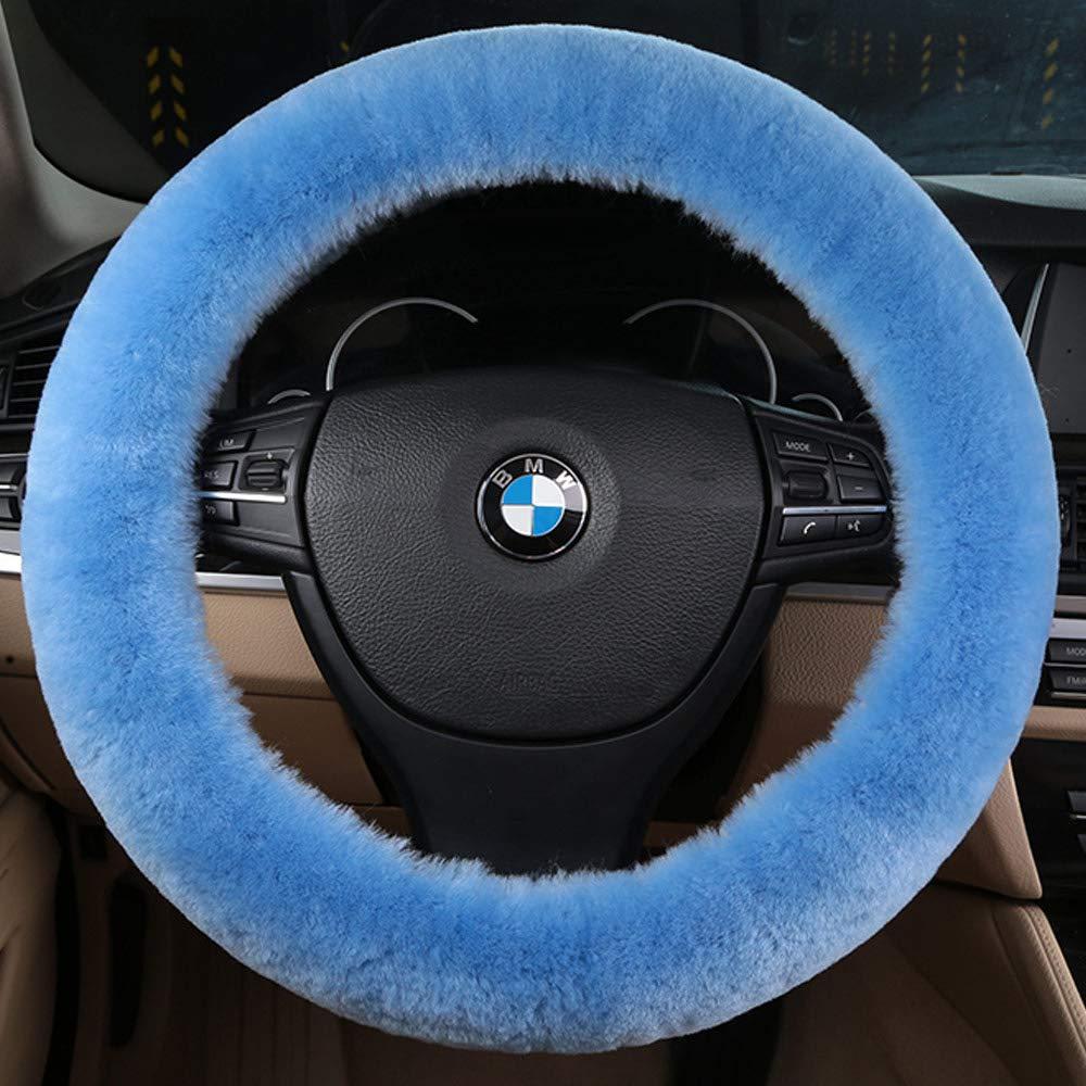 14 15 16 Fluffy Plush Winter Warm Keeper Wheel Protector Universal 36 38 40cm Violet Genuine Sheepskin Wool Steering Wheel Cover