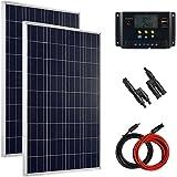 Giosolar Kit panneau solaire 200W 12V pour camping car complet ršŠgulateur de charge solaire LCD module solaire pile solaire polykristallin