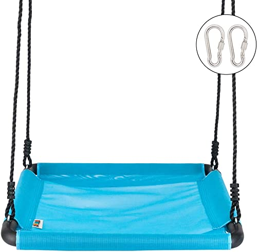 JOYMOR Extra Larger 40 X 30 Kids Giant Platform Net Swing with Extra 2 Carabiners Longer 66inch Hanging Staps, Great for Tree, Swing Set, Backyard, Playground, Playroom Blue