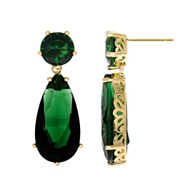 706315fba Inspired by Angelina Jolie's Emerald Earrings - Petite Gold Tone:  Emitations: Amazon.co.uk: Jewellery