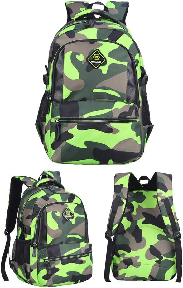 Bansusu Camouflage Printing Elementary Bookbag Travel Rucksack for Primary Boys School Backpack Ages 6-9