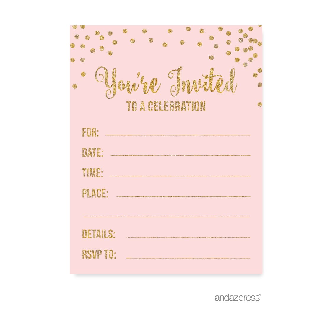 Amazon Andaz Press Blush Pink Gold Glitter Girl's 1st Birthday Party Collection Blank Invitations With Envelopes 20pack Health Personal: Pink And Black Wedding Invitations Blank At Websimilar.org