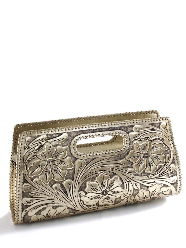 Que Chula Sobre Grande (Large) Handtooled Leather Clutch Purse Gold SOBREGRANDE-GLD