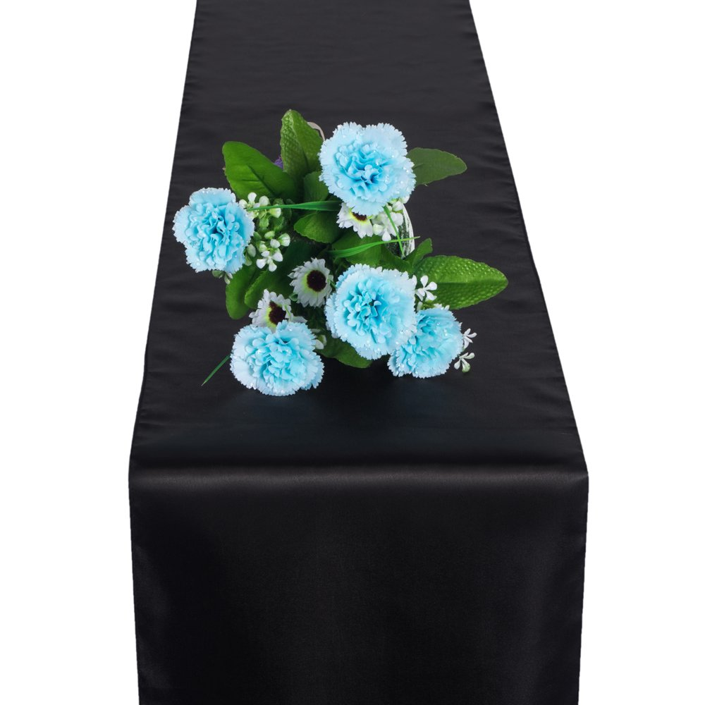 OMG _ Shopモダンウェディングサテンテーブルランナーカバー布Banquet装飾10パック 1pcs ブラック D7001-CN-LJ5   B073LR518Y
