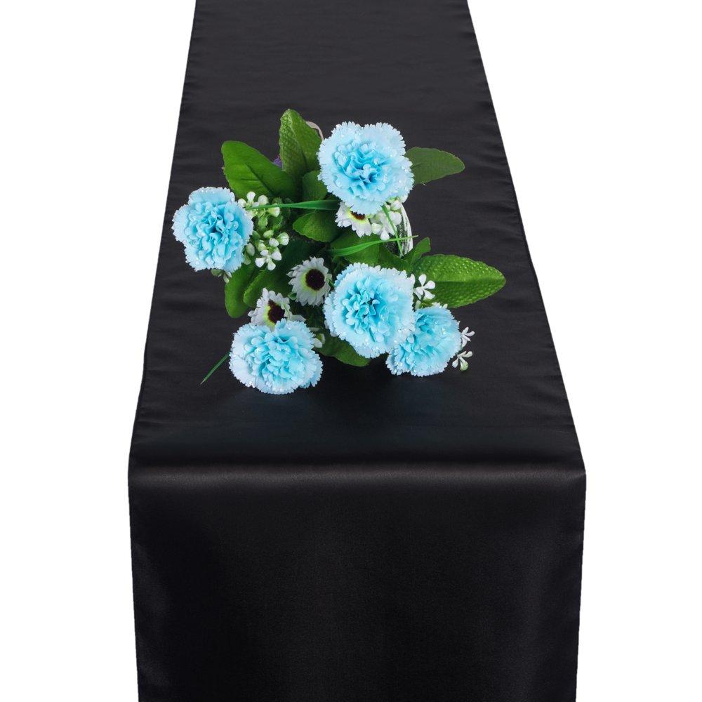 OMG_Shop 11'' x 106'' Satin Table Runner Wedding Venue Decorations Wedding Party (1 pcs Black)