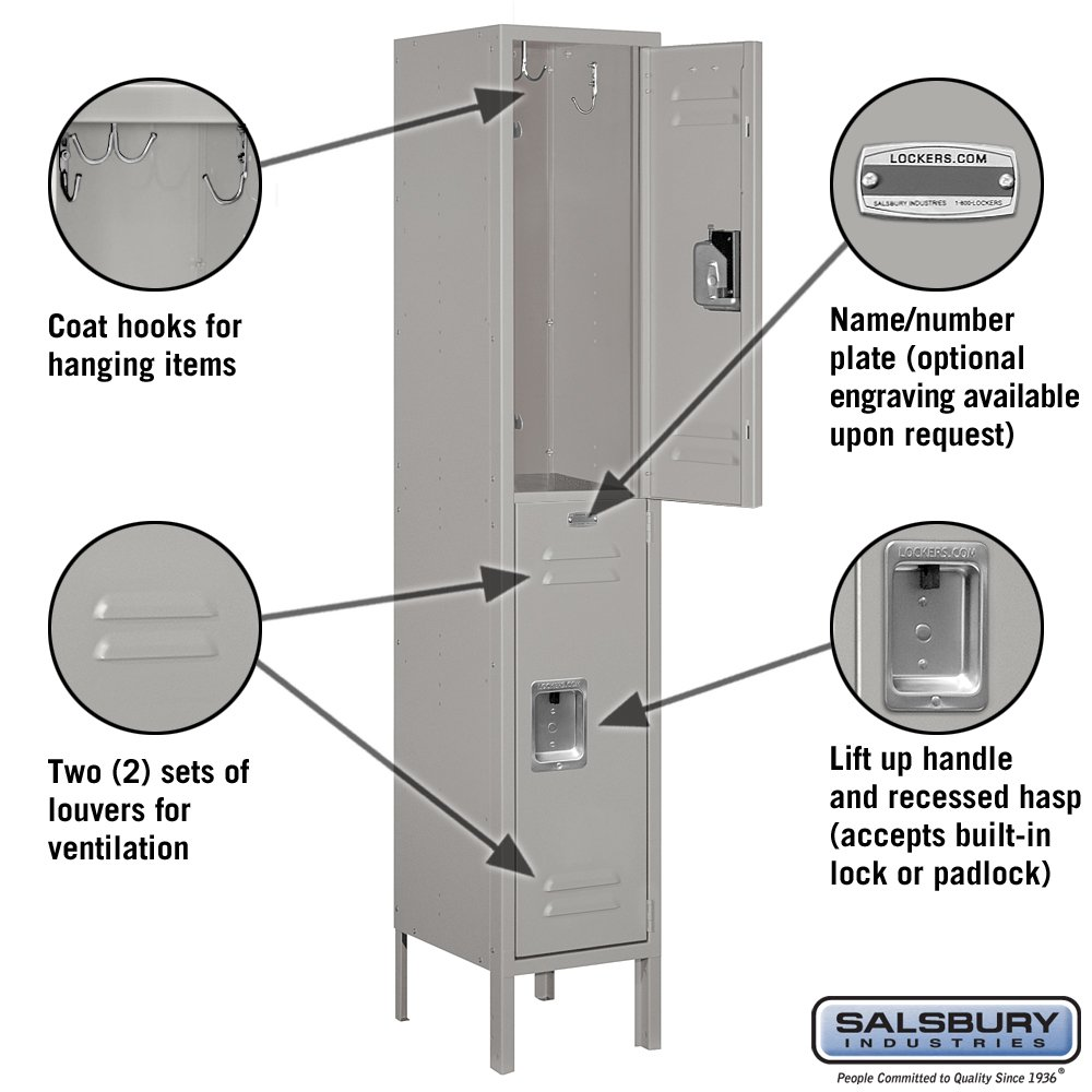 Salsbury Industries 62152GY-U Double Tier 12-Inch Wide 5-Feet High 12-Inch Deep Unassembled Standard Metal Locker, Gray by Salsbury Industries (Image #2)