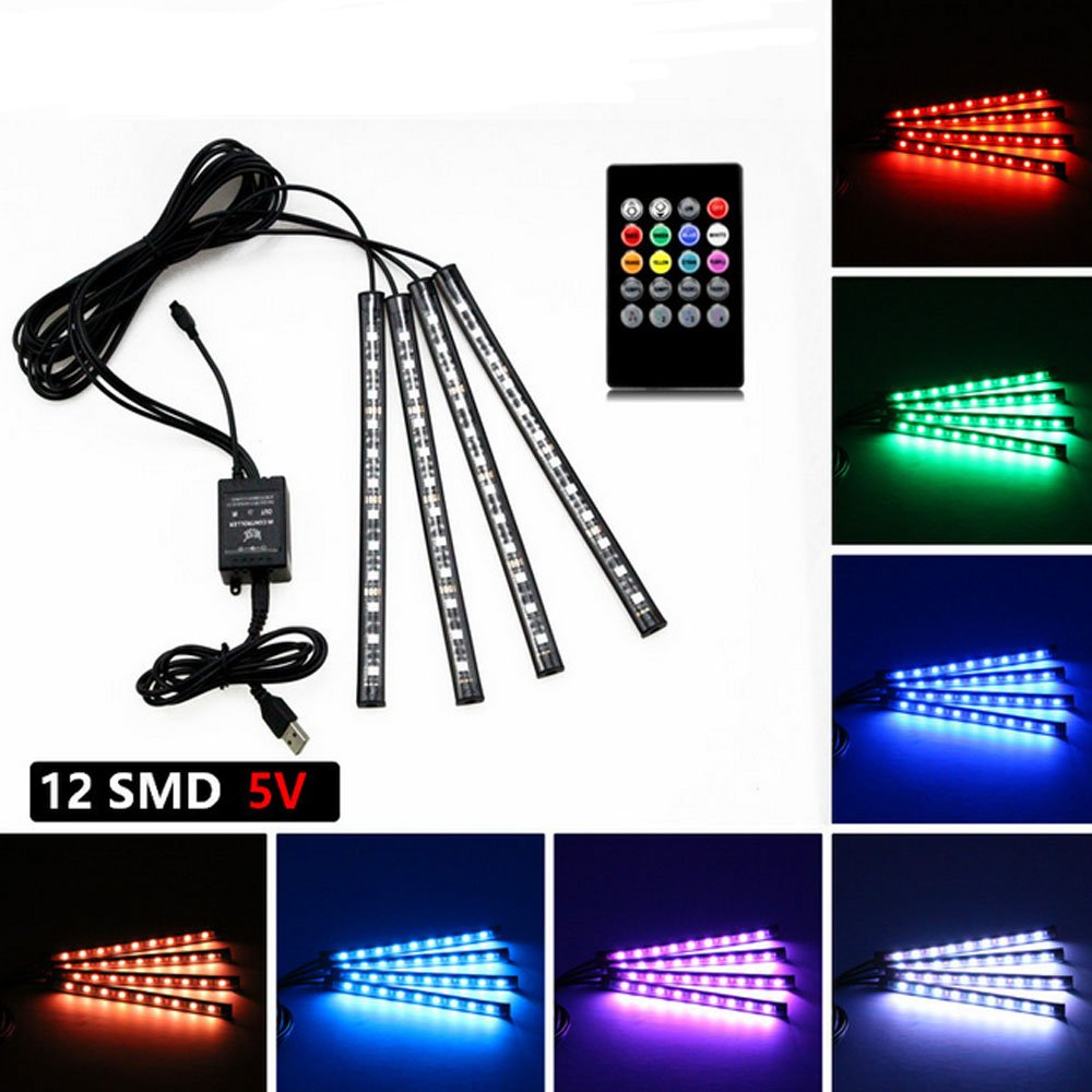 Yking 4pcs 48 LED DC 12V USB LED Strip Lights Car Interior Music Sync Underdash Lighting Kit RGB Multicolor LED,USB LED Strip for Car TV Home with Sound Active Function, Wireless Remote Control