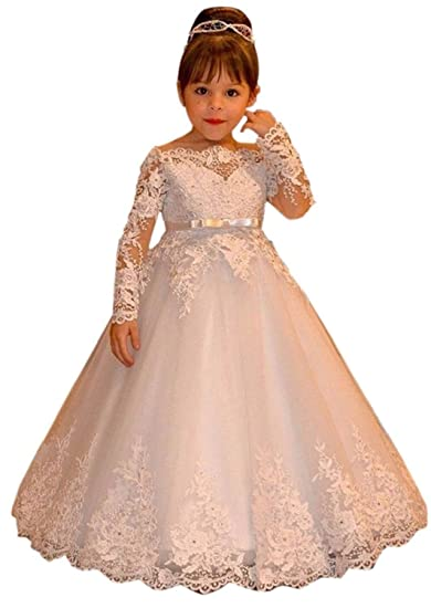 Amazon.com  hengyud Vintage Flower Girl Dresses for Country Wedding Lace  Long Sleeves Communion Dress  Clothing a8c4dc1f8