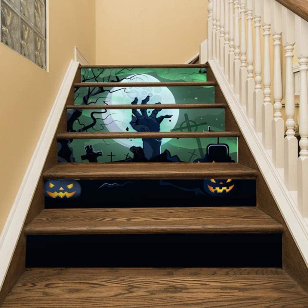 LLKOZZ Etiqueta engomada de la Escalera de la Mano del Fantasma de Halloween Etiqueta engomada Decorativa de Las escaleras 3D Pegatinas de Pared Autoadhesivas, 18cm × 100cm × 6 Hojas: Amazon.es: Hogar