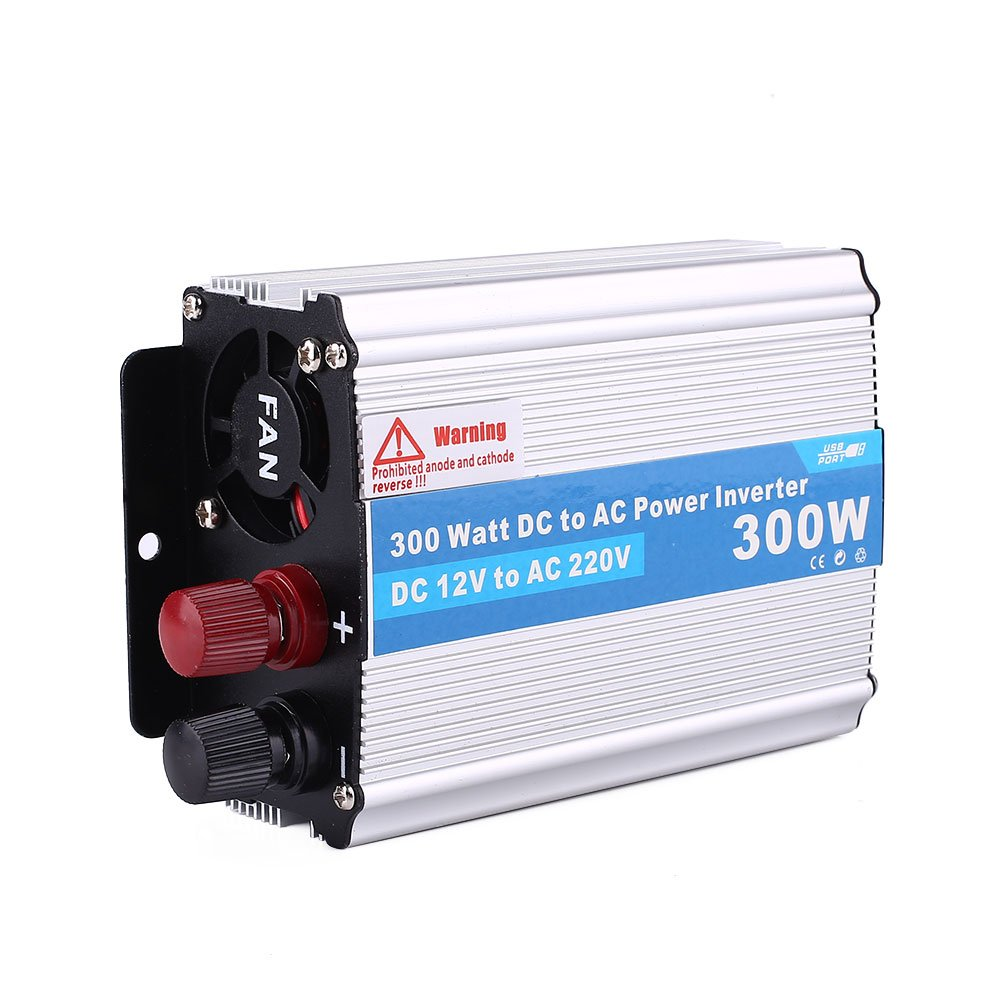 Hanbaili Inversor de energ/ía de 300W DC12V a AC220V Cargador USB Pure Sine Wave Converter
