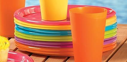 Set Of 12 Colorful Plastic Picnic Plates & Amazon.com: Set Of 12 Colorful Plastic Picnic Plates: Kitchen \u0026 Dining