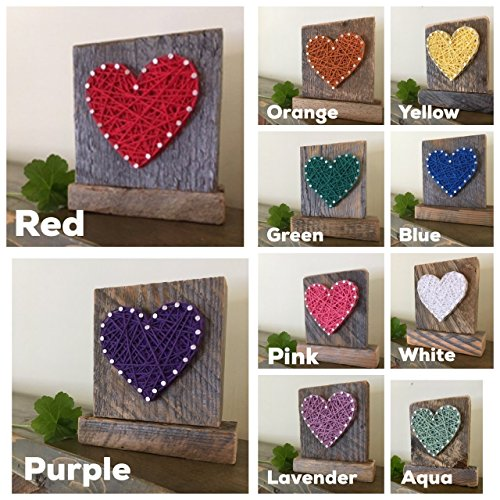 Sweet & small freestanding wooden lavender string art heart sign. Perfect for Mother's Day, home accents, Wedding favors, Anniversary gifts, nursery decoration and just because gifts by Nail it Art. by Nail it Art (Image #4)