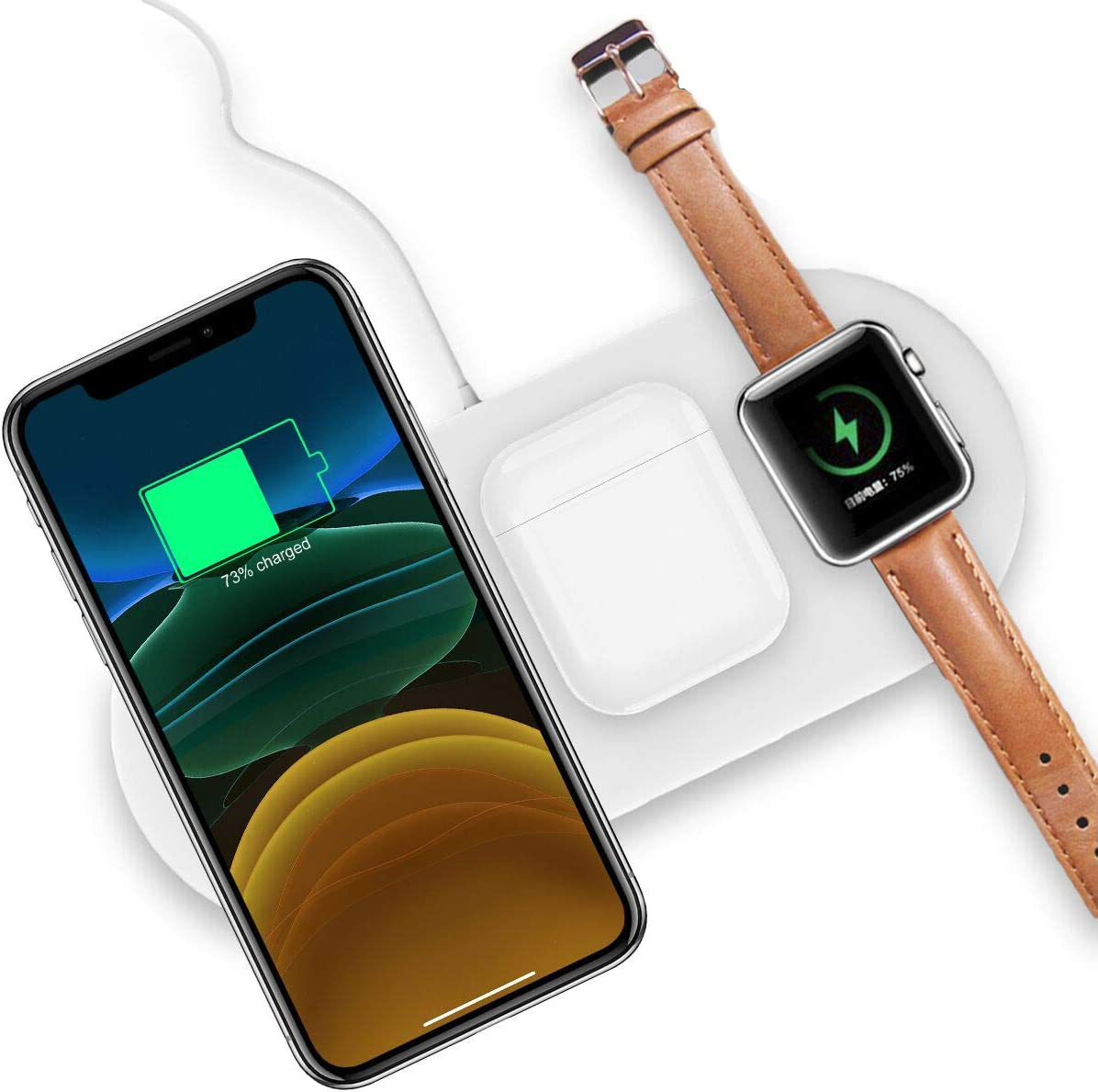 AICase Qi Wireless Charger,3-in-1 Charging Pad for Air Pods Apple Watch Series 5/4/3/2/1 iPhone 11/11 Pro/11 Pro Max/XR/X/8 Galaxy Note10/9 and More Devices Wireless Charger Dock (White)