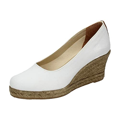 TORRES 4012 Zapatos CUÑA Esparto Mujer Alpargatas Blanco 35