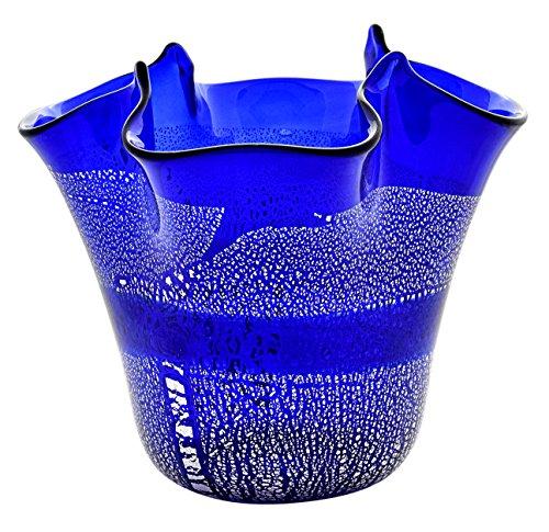 FAZZOLETTO Fascia Argento Centerpiece Murano Glass Vase Bowl Silverleaf Venice Made Italy