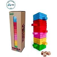 FunBlast Jenga Wooden Blocks, Wooden Tumbling Tower, Wooden Jenga Toys with Dices (54 Pcs)