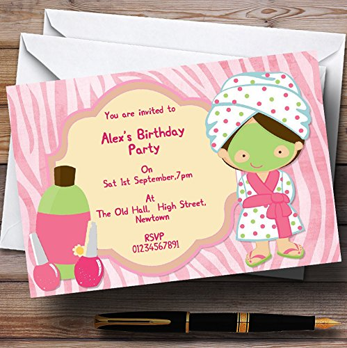 Girls Makeover Nail Spa Day Personalized Birthday Party Invitations