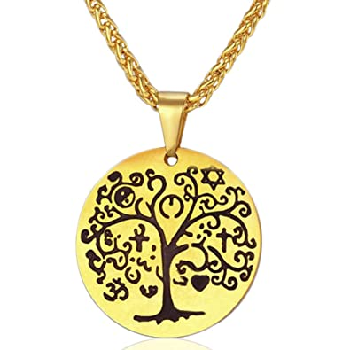 MESE London Tree Of Life Necklace 18K Gold Plated/ Silver Plated Healing Energy Pendant - Elegant Gift Box vJSA2