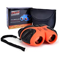 JOYOUTH Children Binoculars For Kids, Mini Rubber 8 x 21 Binoculars Compact For Bird Watching (Orange)