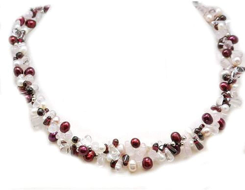 The OLIVIA Collection de plata de ley burdeos y pendientes de perlas blancas y de cristales