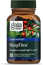 Gaia Herbs, SleepThru, Sleep Support, Non Habit Forming Herbal Sleep Aid, Passionflower, Ashwagandha, Jujube, Organic, Melatonin Free, Vegan Liquid Capsules, 60 Count
