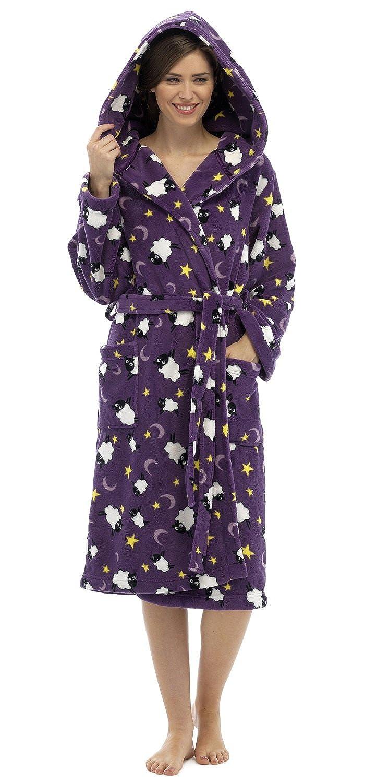 Damen Schaf Winter Warm Bademantel mit einem Kapuze mit Lounge-socken