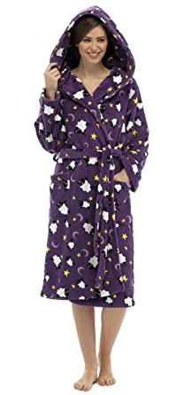 Women/'s Snow Much Fun Hooded Robe with Fair Isle Print Microfleece Lining to Hood.