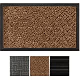 GRIP MASTER Durable, Tough All-Natural Rubber Indoor Outdoor Door Mat, Extra Large (29x17) Boot Scraper, Inside or Outside Entryway Front Door, Waterproof, Low-Profile, Easy-to-Clean (Beige)