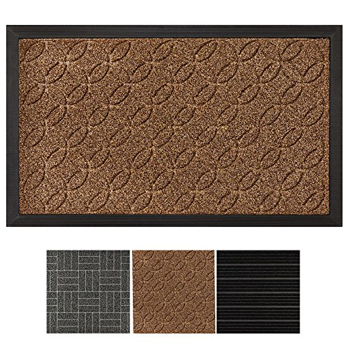 "Grip Master Durable, Tough All-Natural Rubber Indoor Outdoor Door Mat, Extra Large (29"" x 17"") Boot Scraper, Inside or Outside Entryway Front Door, Waterproof, Low-Profile, Easy-to-Clean (Beige)"