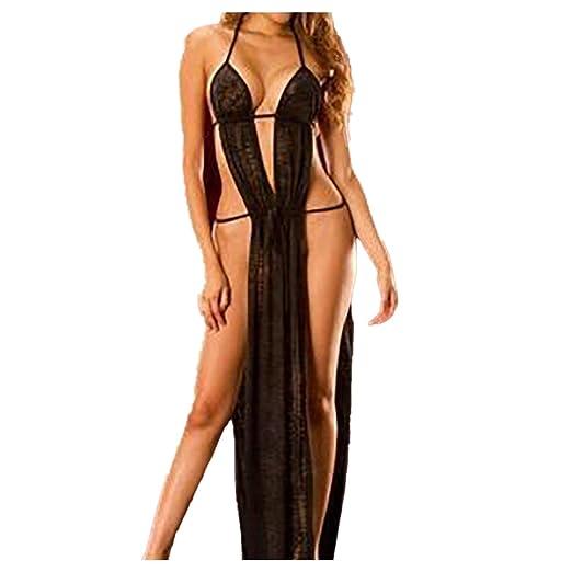 197b643c090d Amazon.com  BSGSH Sexy Lingerie For Women Long High Split See Through  Chemise Mesh Lace Dress Lingerie Robe  Clothing