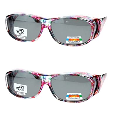 82c5852fac9f 2 Pair Polarized Fit Over Oval Rectangular Sunglasses -8866JP2-  Floral/Floral