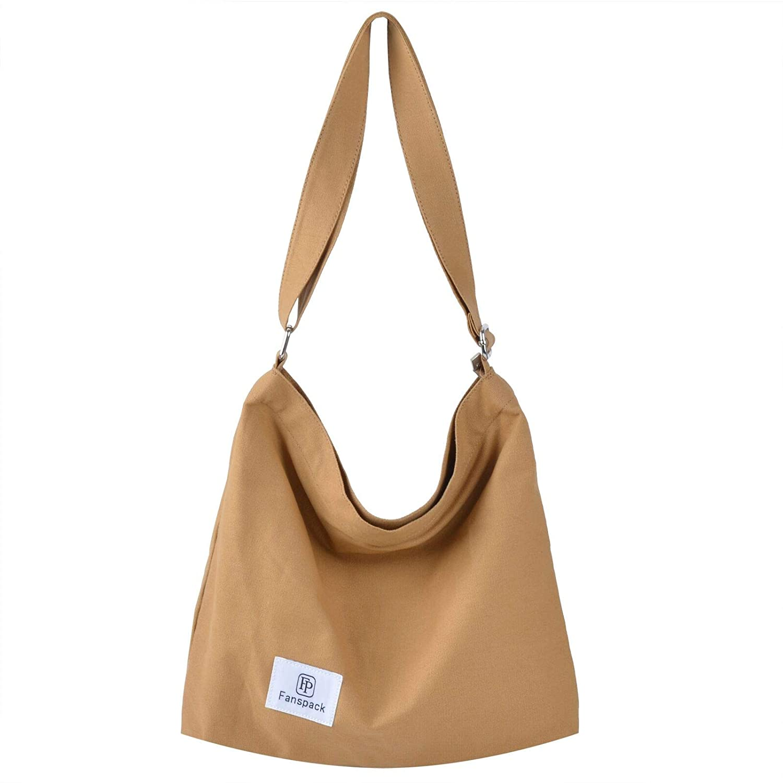 Canvas Bag, Fanspack Canvas Hobo Bag for Women Simple Casual Tote Bag Crossbody Bags Shoulder Bag Work Bag