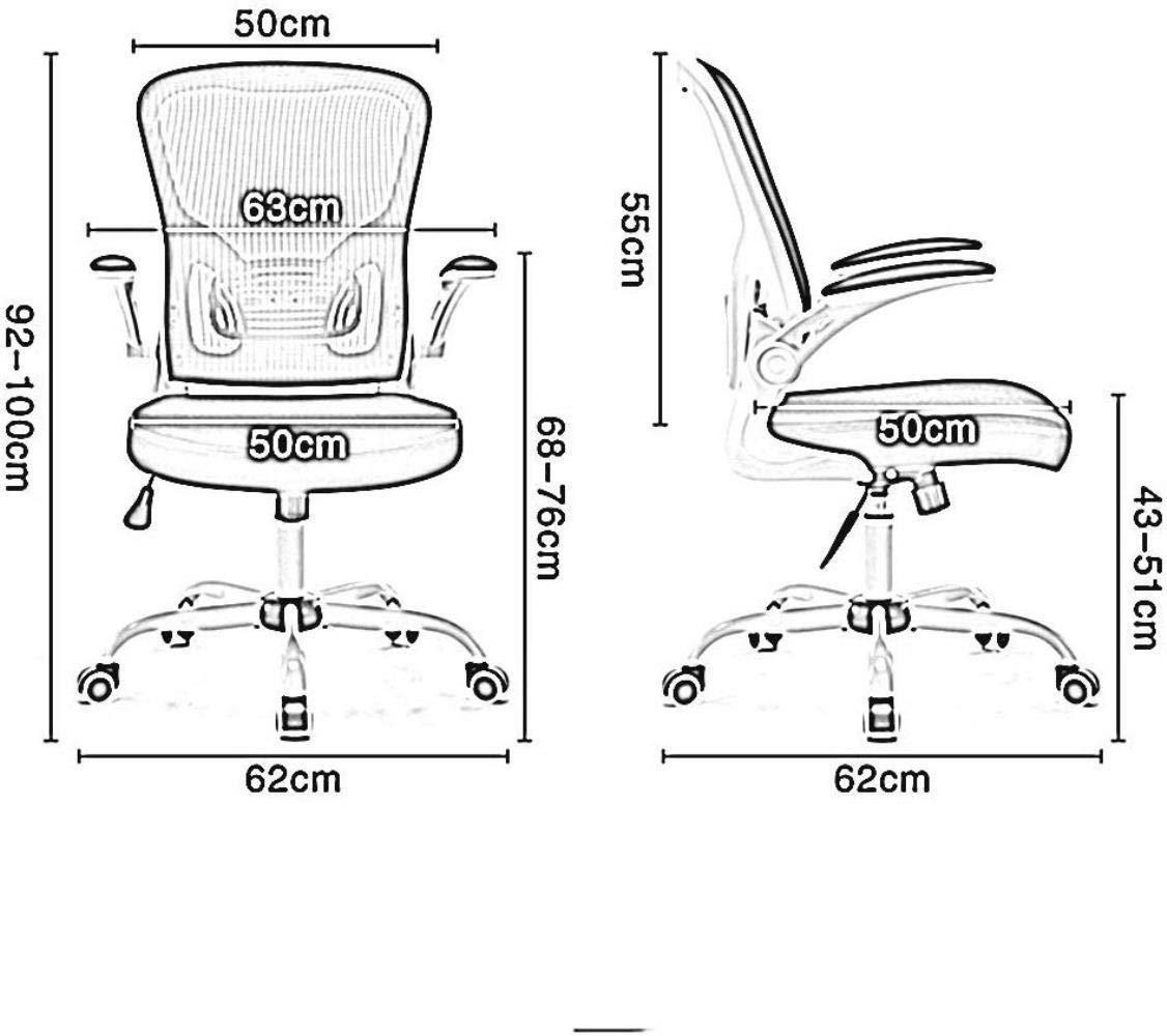 Barstolar THBEIBEI mesh dator kontorsstol datorstol med uppfällbart armstöd vadderad skrivbordsstol med torsionskontroll bärande vikt 120 kg (färg: grå) Grått