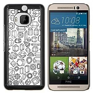 Piedras Arte diamante Rubí Esmeralda- Metal de aluminio y de plástico duro Caja del teléfono - Negro - HTC One M9+ / M9 Plus (Not M9)