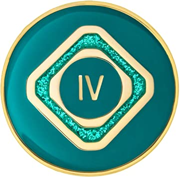 Amazon Com 4 Year Addiction Recovery Anniversary Chip Just For Today Teal Sparkle Recovery Medallion Recoveryshop Home Improvement