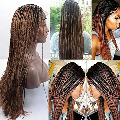 Ombre Wig Lace Front Braid Wigs for Black Women Full Wig Two Tone Color Black to Brown]()