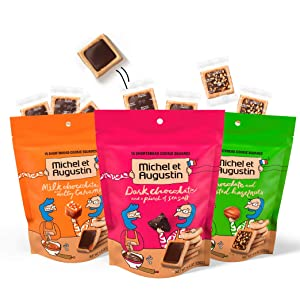 Michel et Augustin Gourmet Chocolate Cookie Squares | Individually Wrapped European Cookies | 3-Bag Variety Pack | 15 French Shortbread Cookies per Bag