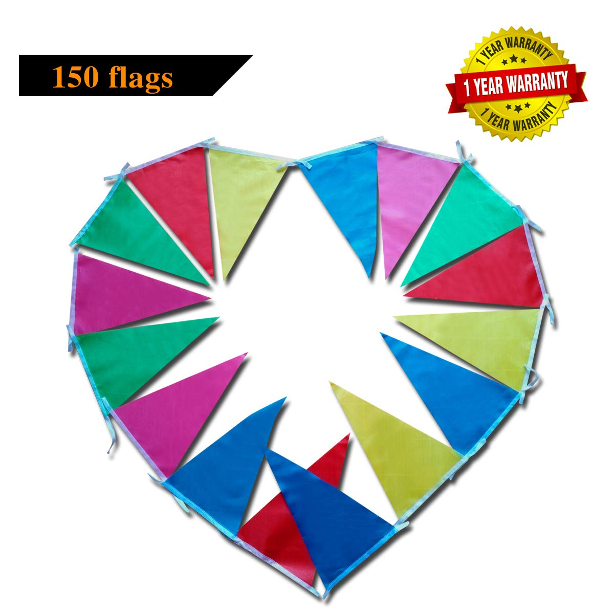 Rainbow Garden Outdoor Bunting Flag Banner Multicolour Double Sided 150 Flags Bunting for Birthday Circus Festival Summer Seaside Party MILsEnse Bunting for Party Decoration
