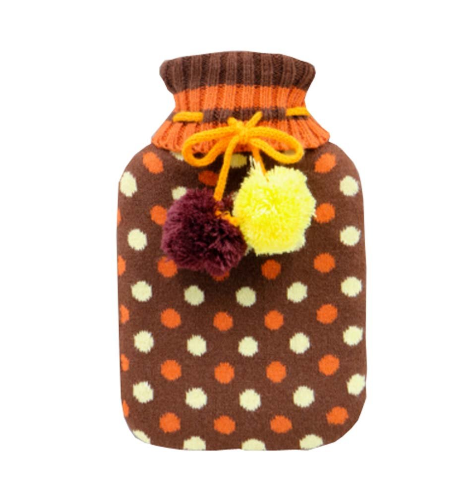850 ML Natural Rubber Water Injection Hot Water Bag,Brown