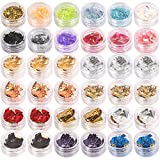 Teenitor 36 Boxes Nail Art Glitter Decorations Pailette Foil Sticker Candy Colors Flakes Nail Kit Sequins Manicure DIY Nail Art Kit Chips Supplies