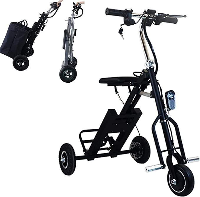 3 Wheel Electric Bicycle Adult Electric Scooter 12 Lightweight And Compact All Terrain Mountain Tricycles with Electric Lock Child Seat for Home Shopping Use Traveling with Pets,Gray,720Wh15ah
