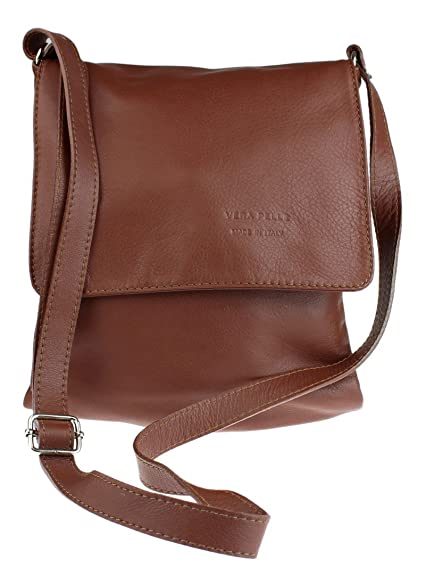Girly HandBags Genuine Soft Leather Italian Cross Body Shoulder Bag Flap  Zipper - Brown 8ea415f4957f