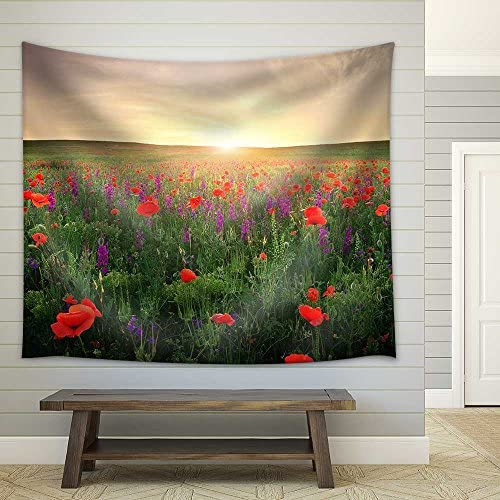Field with Grass Violet Flowers and Red Poppies Against The Sunset Sky Fabric Wall