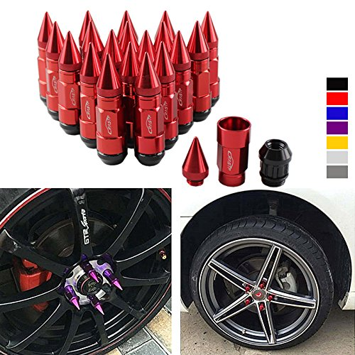 RASTP Anti Theft Racing Car Tires Spike Lug Nuts,JDM Sytle Anodized Universal Wheel Lug Nuts M12x1.25mm RS-LN043 (1.25, red)