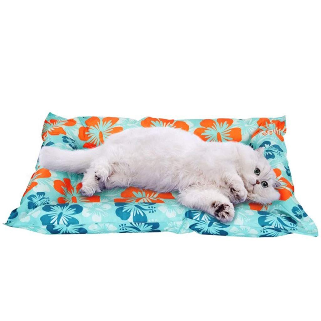 A M A M ZLX CHWO Pet Nest, Pet Dog Mat Hibiscus Ice Nest Teddy Samoyed Pet Dog Summer Mosquito Net Nest Dog Daily Necessities (color   A, Size   M)