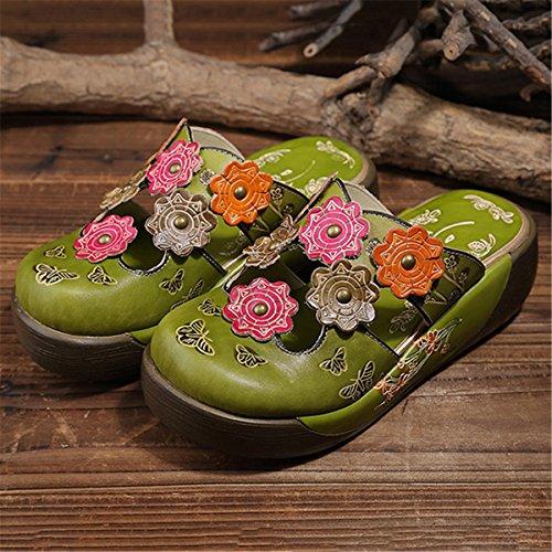 Sandali Da Donna Gracosy, Pantofole In Pelle Estivi Pantofola Senza Schienale Epoca Intasa Le Scarpe Di Fiori Colorati Morbida E Confortevole Verde-a