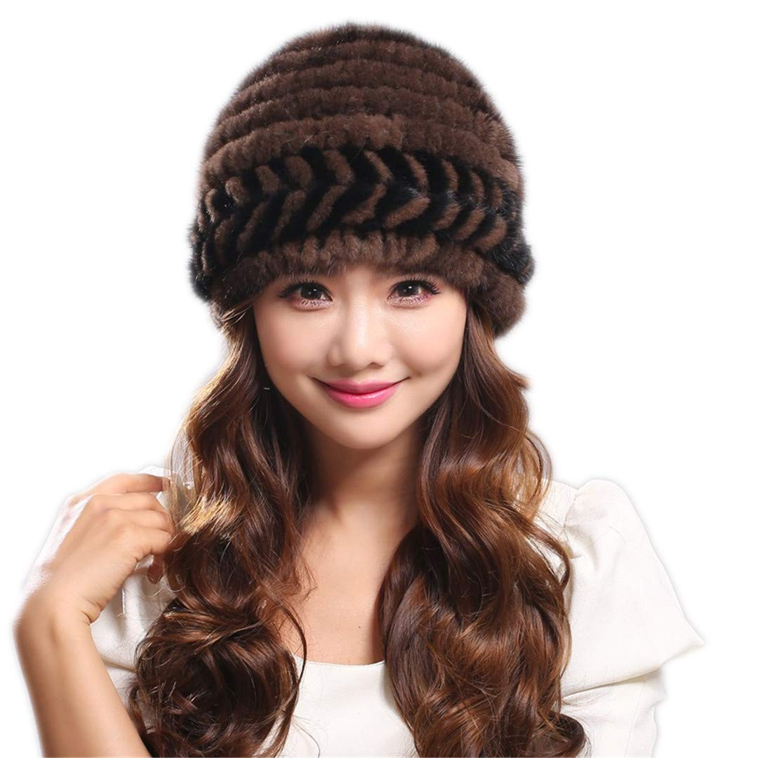 Cashent Women Natural Mink Fur Hat with Lining Knitted Fur Beanies with Flower Quality Fur Hat 1