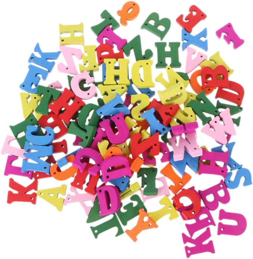 100pcs Unfinished Wooden Shapes Letter Alphabet Embellishments for Kids DIY